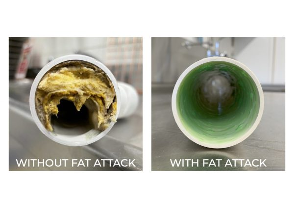 Before and after pictures of a blocked pipe, and a clear one that uses fat attack